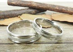 Custom Fingerprint Rings, Modern Wedding Bands, Simple Silver Wedding Bands, Couple Rings Set, Titanium Rings Set #TitaniumRings #Couple #Fingerprint #Gifts #TitaniumBand #PersonalisedBand #JewelryRing #Weddings #WeddingRing #WeddingBands