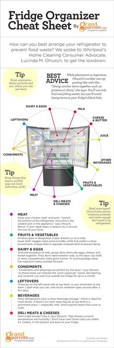 Refrigerator Organization Chart. Tells you what level of the fridge is best for certain foods #provestra