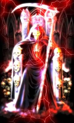 Animated Grim Reaper | Cool Grim reaper sitting in his throne with cool red lightning storm ...