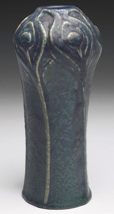 """Van Briggle Pottery, vase with carved peacock feather design, matte blue-green glaze with deep purple highlights, 3""""w x 7""""h"""