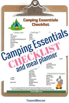 This Camping Essentials Checklist will show you what gear to take on your camping trip. This printable packing list is perfect for your family, especially if you have kids. It comes with a Camping Meal Planner, too. Camping Meal Planner, Camping List, Camping Checklist, Camping Essentials, Camping Meals, Tent Camping, Camping Hacks, Outdoor Camping, Camping Trailers