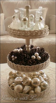 Tiered Tray...Click the link below the photo which says Source and it will take you to a full DIY Tutorial. 3 Tier Stand, Tiered Stand, Tiered Server, Plate Stands, Cake Plates, Cake Tray, Tier Tray, Christmas Decorations To Make, Christmas Centerpieces