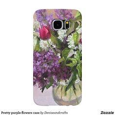 Pretty purple flowers case samsung galaxy s6 cases
