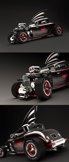 Fashion and Action: Wicked Render of Medri's 50's Rockabilly Hot Rod Batmobile