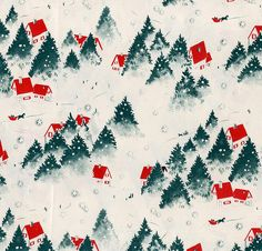 Red Roofed Houses In The Snow Vintage Christmas Wrapping Paper Christmas Prints Christmas Ephemera