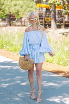 Bell sleeve ruffle off-the-shoulder Chicwish romper, Baublebar earrings & Cult Gaia bag - summer fashion