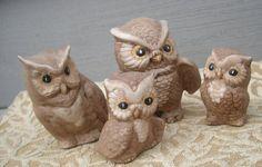 Vintage Miniature Ceramic Owl Family Set/4