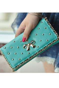 Metal Butterfly Embellished Riveted Wallet