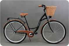 "City bike, ladies bike, town bike, swan bike, dutch bike, STYLE 26"""" with brown wicker basket, 3 gears"""