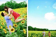 sunflower engagement photos from Washingtonian