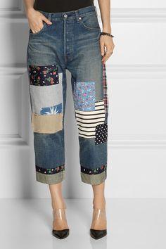 Junya Watanabe Patchwork cropped boyfriend jeans