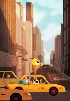 "New York City Art Print, New York Taxi Art, NYC Art Print, Cute Animal Art, City Art Print - ""Yellow Cab"""