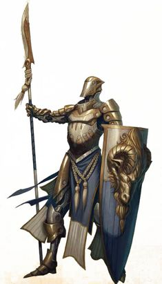The equipment of a pre-Dominion-era (3rd Epoch) Majiski high paladin of the Ioan military
