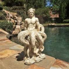 This Octoman statue will add that Nautical Coastal touch to your pool, patio, home and garden. It's a great gift for the nautical minded gardener in the family or the neighborhood. The ultimate garden Male Mermaid, Mermaid Art, Greek Statues, Angel Statues, Poseidon Statue, Beach Gardens, Black Flowers, Yard Art, Sculpture Art