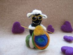 Adorable Knitting Sheep with Glasses by MariolasFeltDesign on Etsy