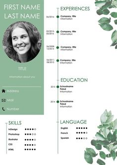 Resume / CV If you like this cv template. Check others on my CV template board :) Thanks for sharing! Cv Design Template, Resume Templates, Cv Curriculum Vitae, Cv Inspiration, It Cv, Free Resume Examples, Graphic Design Resume, Perfect Resume, Creative Resume
