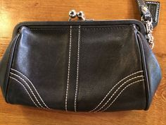Coach Black Leather Wristlet Kiss Lock Clutch #Coach #Wristlet