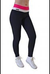Legging Fitness Americana - Preta c/cós Rosa c/Branco