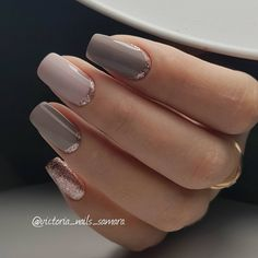 Shades of nude with delicate glitter accents