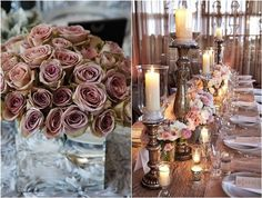 """[tps_header][& Still can't decide in your wedding color? Dusty rose is the latest """"It"""" palette taking over, it's not just the name of Adam Levine and Behati Prinsloo's daughter—Dusty Rose is als. Dusty Pink Weddings, Dusty Rose Wedding, Romantic Weddings, Lantern Centerpiece Wedding, Tall Wedding Centerpieces, Wedding Decorations, Fall Wedding, Rustic Wedding, Staubige Rose"""