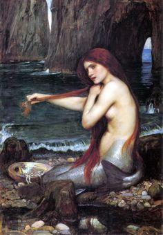 "la toile qui m'aide à m'endormir à chaque soir.  John William Waterhouse - ""The Mermaid"" -1901"