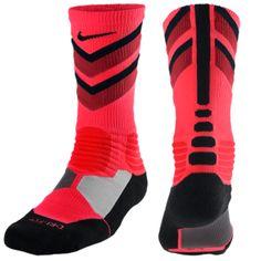 Nike Hyperelite Chase Crew Socks - Men's - Bright Crimson/Varsity Red/Black