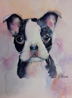 Boston Terrier Original Watercolor Painting by JoanPriceArt