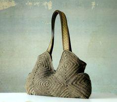 Crochet Purse, Handmade granny square crochet Bag, fall fashion, Shoulder Bag, melange brown, christmas gift idea, taupe