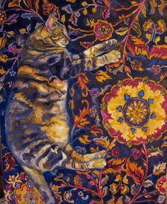 """PHIPPS-K, """"Kimono's Cat's Dream,"""" Oil on Canvas, 21"""" x 17"""""""