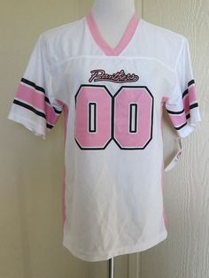 ... Girls NFL Team Apparel Size XL 14 16 Carolina Panthers Jersey Pink Kids  eBay Girls Youth Carolina Panthers 5th Ocean by New Era WhitePink Jersey  Slub ... 6370ea292