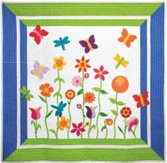 Make this gorgeous #butterfly applique #quilt pattern as a baby quilt, throw quilt, or wall hanging. The cheery #Applique Butterfly Garden from Accuquilt has so many possibilities! With its fresh flower garden appliques and bold border, this quilt is perfect for spring!