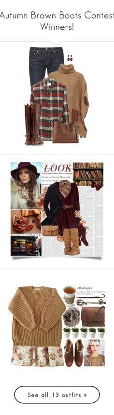 """Autumn Brown Boots Contest Winners!"" by par0dise ❤ liked on Polyvore featuring rag & bone, Michael Kors, Band of Outsiders, Tory Burch, ALDO, plaid, jeans, ridingboots, poncho and Børn"