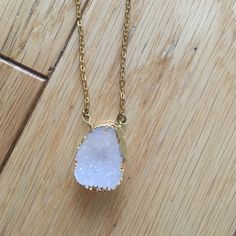 Gold Plated Druzy Quartz Necklace Gorgeous! White with blue tint druzy. Lobster clasp. Chain is brass. Druzy is gold plated. Brand new! Bought this in a boutique in Seattle. Chain is 16 inches. No trades! Jewelry Necklaces