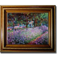 Claude Monet 'Artists Garden at Giverny' Small Framed Canvas Art