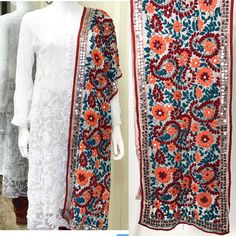 FREE SHIPPING IN USA! Buy Online Handwork Phulkari Stole/Dupatta. Ready to ship from California. To order visit www.PinkPhulkari.com Pakistani Outfits, Indian Outfits, Stylish Dresses, Fashion Dresses, Phulkari Embroidery, Phulkari Suit, Ethenic Wear, Kurti Styles, Couture Embroidery