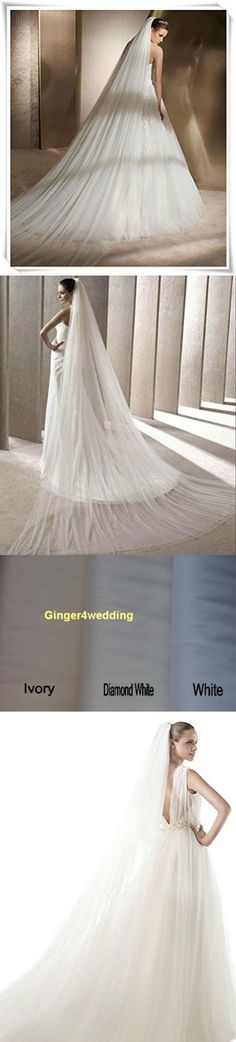 Shop Ginger Wedding Handmade Double Layer 2T Bridal Veil Cut Edge (Cathedral, Glimmer Diamond White)