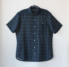 Horizontal collar shirts for men Ramie Spring Summer by Negitoros