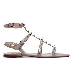 VALENTINO Rockstud Leather Gladiator Sandals. #valentino #shoes #sandals