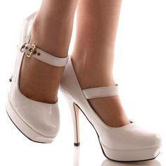ivory bridal platform shoes with strap