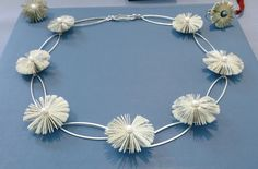 Literary blossoms - book  fragment necklace with sterling silver elements and Akoya pearls