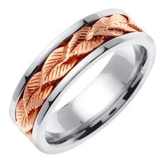 Best Diamond Engagement Rings : Image Description Two Tone Gold Leaf Pattern Wedding Band. This ring features a row of detailed rose gold leaf pattern linked to create a seamless look. The leaves are placed over a white gold ring. Leaf Wedding Band, Celtic Wedding, Wedding Ring Bands, Rustic Wedding Rings, Wedding Rings For Women, Wedding Sets, Gold Wedding, Wedding White, Floral Wedding