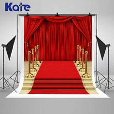Red Curtains Carpet Stage Photography Backdrops Gold