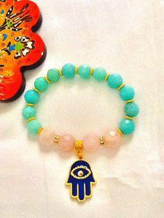 SALE ------ BOHO AMAZONITE bracelet-gypsy bracelet - ethnic bracelet-Hamsa bracelet -protection bracelet - pinned by pin4etsy.com