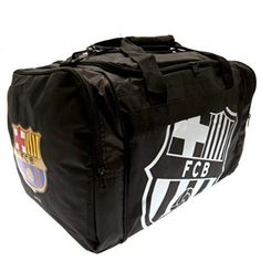 - nylon holdall- adjustable shoulder strap- carry handle- 2 end pockets- approx x x with a swing tag- official licensed product Fc Barcelona, Luggage Backpack, European Soccer, Swing Tags, Chelsea Fc, Football Team, Shoulder Strap, Bags, Amazon