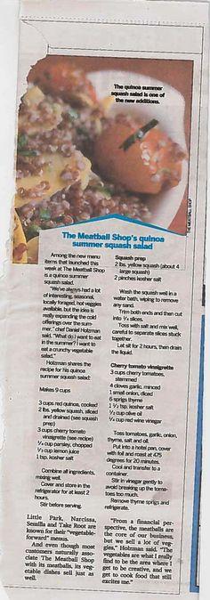 Meatball Shop quinoa summer squash salad