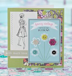 Cute card and free printable for button backing cards by Kirsty Neale