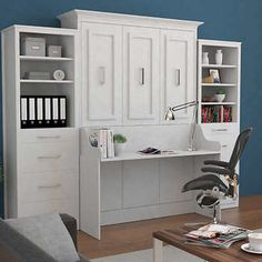 Bed & Room Porter Queen Portrait Wall Bed with Desk and Two Side Towers in White – Ikea 2020 Murphy Bed Desk, Murphy Bed Plans, Office With Murphy Bed, Murphy Bed With Couch, Murphy Table, Queen Murphy Bed, Desk Bed, Cama Murphy Ikea, Murphy-bett Ikea