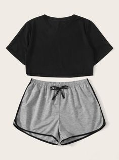 Crop Top With Contrast Binding Shorts PJ Set – Source by pazzibaldoni – – Tanja Holtzmann Cute Lazy Outfits, Teenage Outfits, Sporty Outfits, Mode Outfits, Pretty Outfits, Fashionable Outfits, Grunge Outfits, Chic Outfits, Cute Pajama Sets