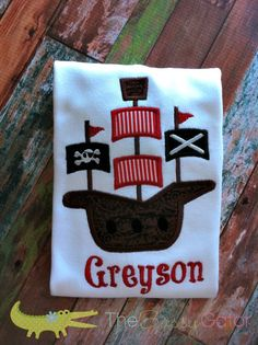 Pirate Ship Personalized Applique TShirt by TheSassyGator on Etsy, $24.99