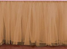 """Bedskirt Ruffle TAUPE Tulle Bed Skirt Any Size - Velcro detachable option. TAUPE Tulle bed skirt queen King, Cal King, Twin, Full, olympic queen, Twin XL, Daybed with any drop length. Color - TAUPE Pattern - Double Layered Ruffled Lined Size - California King, King, Queen, Olympic Queen, Full, Twin, Twin XL, Twin daybed Drop Length - any from 5"""" to 40"""" Sides - 3 sided, 4 sided (select from options) Corners - Regular Corners, Split Corners Other Options - Velcro detachable option available…"""